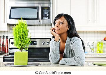 tankfull, kvinna, kök