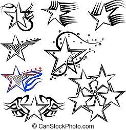 tatuera, design, stjärna