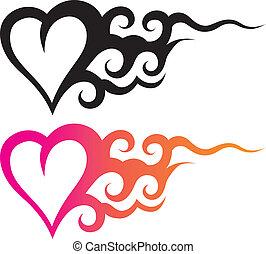 tatuera, hjärta