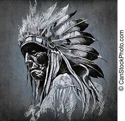 tatuera, huvud, över, mörk, amerikansk indian, bakgrund, stående, konst
