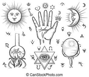 tatuera, magi, ockultism, symboler, vektor, andlighet, kemi, alkemi
