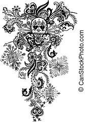 tatuera, paisley, kranium