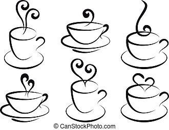 te kaffe, vektor, kuper