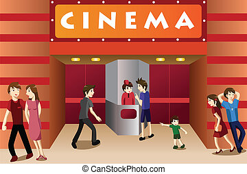 teater, folk, film, ung, utanför, hänga ut