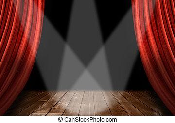 teater, spotlights, centrerat, 3, bakgrund, röd, arrangera
