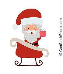 tecken, släde, claus, munter, jultomten, jul