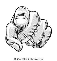 teckna fodra, peka fingra, retro