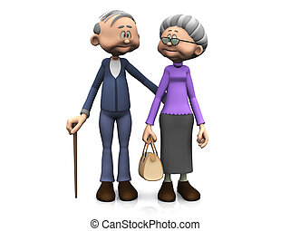 tecknad film, äldre, par.