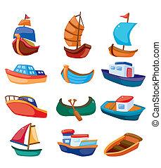 tecknad film, båt, ikon