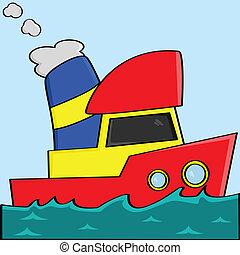 tecknad film, båt
