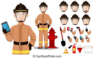 tecknad film, brandman, tecken