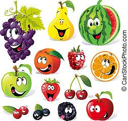 tecknad film, frukt, rolig