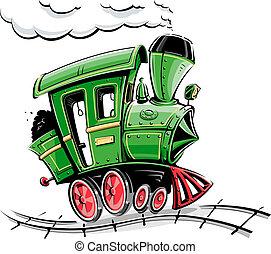 tecknad film, grön, lokomotiv, retro