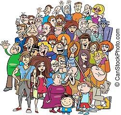 tecknad film, grupp, folkmassa, folk