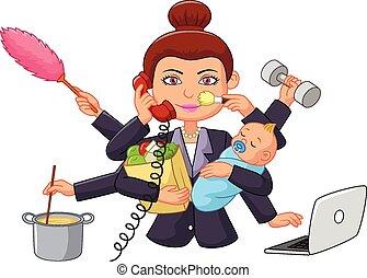tecknad film, multitasking, hemmafru
