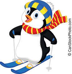 tecknad film, pingvin, skidåkning
