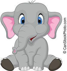 tecknad film, söt, sittande, elefant