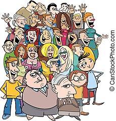 tecknad film, tecken, folkmassa, folk