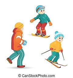 teen pojkar, snöbollar, skidåkning, leka, snowboarding