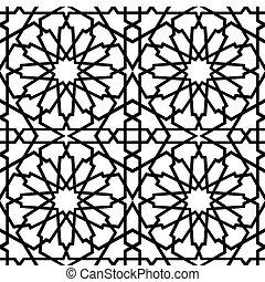 tegelpanna, islamitisk, bw, stjärna
