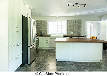 tegelpanna, kök, marmor, lysande, färsk