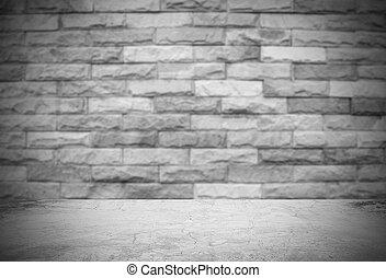 tegelsten, gammal, bakgrund, vägg, betong golvbeläggning, suddig
