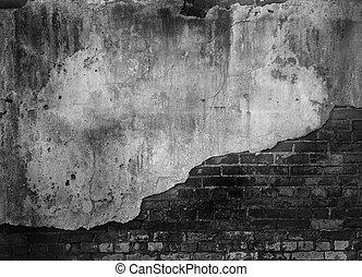 tegelsten, gammal, vägg, konkret