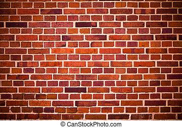 tegelstenar, vägg, röd