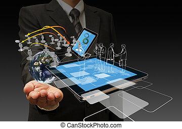 teknologi, affärsmän, hand