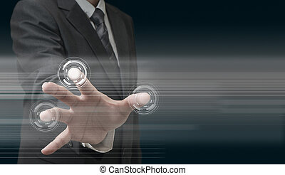 teknologi, hand, nymodig, arbete