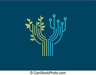 teknologi, symbol, -, tech, logo, ikon