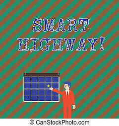 teknologien, väg, begrepp, stjärna, färgrik, pekande, sammanlöpa, text, hänga, highway., högt, motorvägen, avancerat, affärsman, wall., ord, le, skrift, affär, kalender, smart