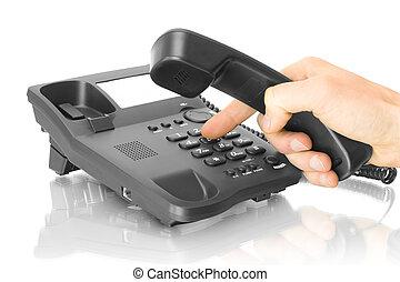 telefon, kontor, hand