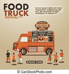 tema, mat, lastbil, burger, finsmakare, affisch, festival