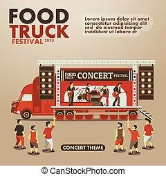 tema, mat, lastbil, finsmakare, affisch, konsert, festival