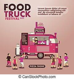 tema, mat, pizza, lastbil, finsmakare, affisch, festival