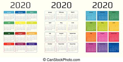 template., months., event., vecka, helgdag, 2020, inkludera, söndag, kalender, 12, startar