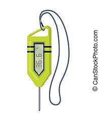termometer, mätning, vector., förhindrande, icon., design, isolerat, vit, elektronisk, nät, ikon, huvudsaklig, kropp, bakgrund, temperatur, tecknad film, coronavirus.