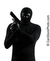 terrorist, silhuett, tjuv, gevär, holdingen, brottsling
