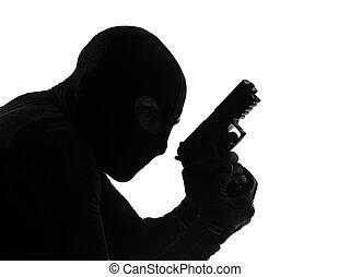 terrorist, silhuett, tjuv, gevär, holdingen, stående, brottsling