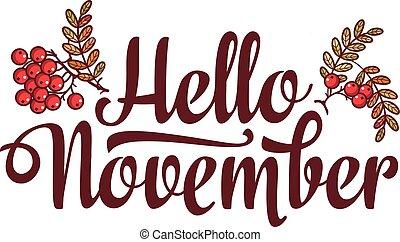 textning, säljande, text, eller, hej, november., flygare, template., baner, komposition