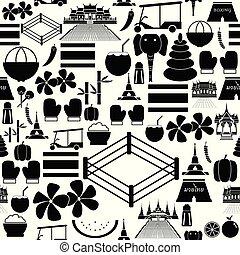 thailand, icon., seamless, fond mönstra