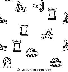 thailand, vektor, seamless, mönster, medborgare