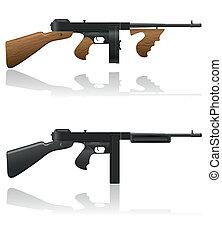 thompson, gangster, vektor, gevär
