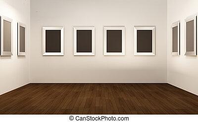 thw, showroom., tom, perspektiv, interior., inramar, vit, främre del, galleri, vägg