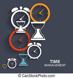 tid, nät, mobil, nymodig, ikon, administration, vektor, ansökan, lägenhet