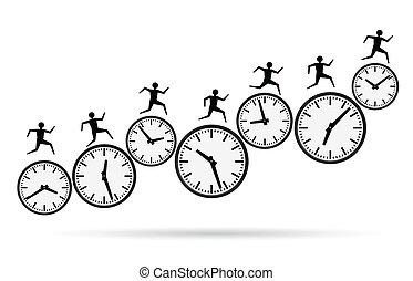 tid, spring, upptaget, ute, begreppen