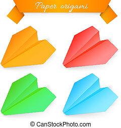 tidning flygmaskin, vektor, origami., illustration