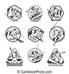 tillflykt, vektor, elementara, logo, märken, etiketter, symboler, skida