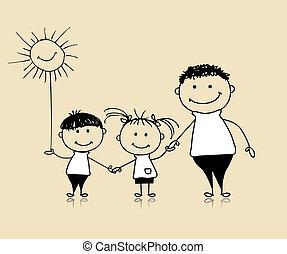 tillsammans, teckning, lycklig, barn, fader, familj, le, skiss